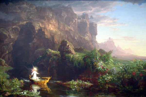 HUDSON RIVER THE VOYAGE OF LIFE CHILDHOOD BY THOMAS COLE ARTIST PAINTING CANVAS