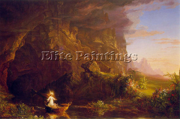 THOMAS COLE THE VOYAGE OF LIFE CHILDHOOD ATC ARTIST PAINTING HANDMADE OIL CANVAS