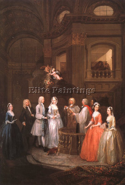 WILLIAM HOGARTH THE WEDDING OF STEPHEN BECKINGHAM AND MARY COX PAINTING HANDMADE