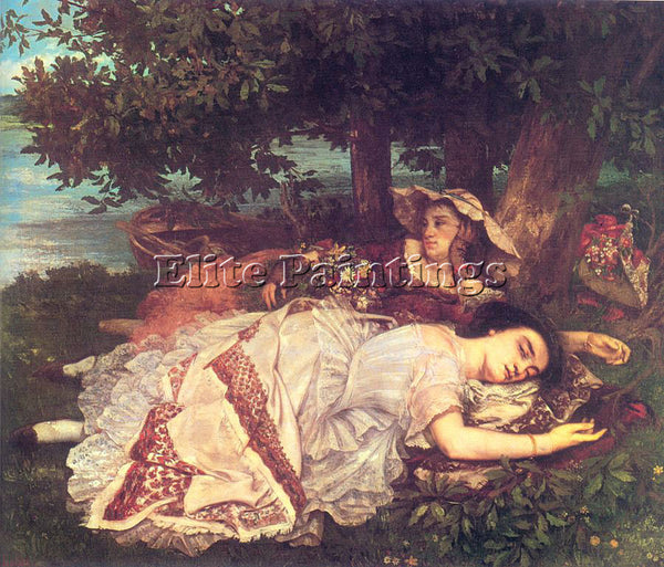 GUSTAVE COURBET THE YOUNG LADIES ON THE BANKS OF THE SEINE ARTIST PAINTING REPRO