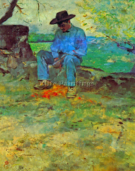 TOULOUSE-LAUTREC THE YOUNG ROUTY IN CELEYRAN ARTIST PAINTING HANDMADE OIL CANVAS