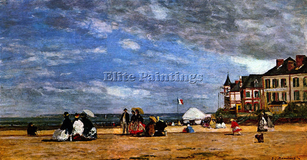 BOUDIN THE BEACH AT TROUVILLE BY BOUDIN ARTIST PAINTING REPRODUCTION HANDMADE