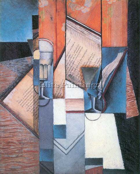 JUAN GRIS THE BOOK 2 ARTIST PAINTING REPRODUCTION HANDMADE OIL CANVAS REPRO WALL