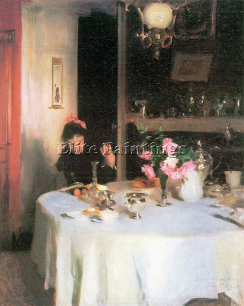JOHN SINGER SARGENT THE BREAKFAST TABLE ARTIST PAINTING REPRODUCTION HANDMADE