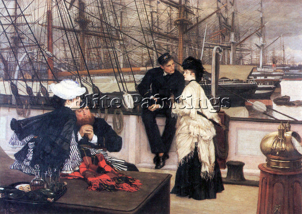 TISSOT THE CAPTAIN AND HIS GIRL ARTIST PAINTING REPRODUCTION HANDMADE OIL CANVAS