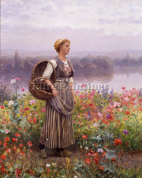 DANIEL RIDGWAY KNIGHT THE FLOWER GIRL ARTIST PAINTING REPRODUCTION HANDMADE OIL