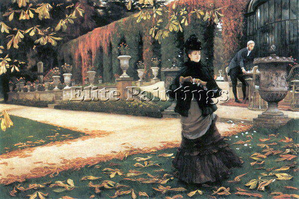 TISSOT THE LETTER CAME IN HANDY BY TISSIT ARTIST PAINTING REPRODUCTION HANDMADE