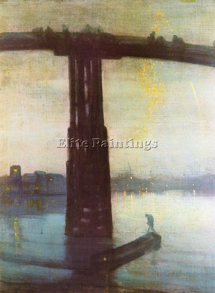 JAMES ABBOT MCNEILL THE OLD BATTERSEA BRIDGE WHISTLER ARTIST PAINTING HANDMADE