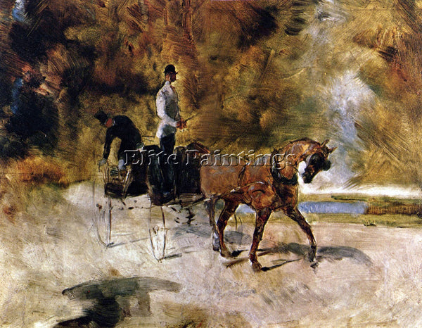TOULOUSE-LAUTREC THE ONE HORSE CARRAIGE ARTIST PAINTING REPRODUCTION HANDMADE