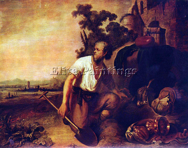 REMBRANDT THE PARABLE OF THE TREASURE GRAVES ARTIST PAINTING HANDMADE OIL CANVAS