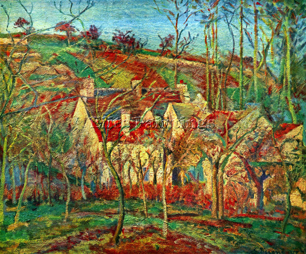 PISSARRO THE RED ROOFS ARTIST PAINTING REPRODUCTION HANDMADE CANVAS REPRO WALL