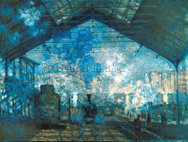 MONET THE STATION SAINT LAZARE ARTIST PAINTING REPRODUCTION HANDMADE OIL CANVAS