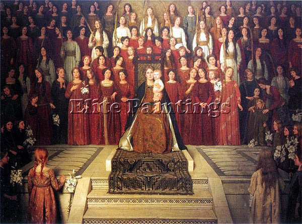THOMAS COOPER GOTCH THE MOTHER ENTHRONED ARTIST PAINTING REPRODUCTION HANDMADE