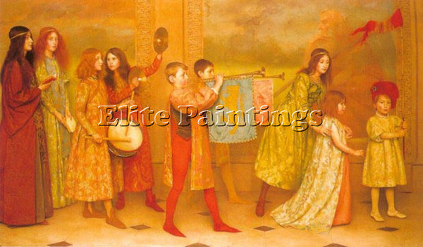 THOMAS COOPER GOTCH THE PAGEANTOF CHILDHOOD ARTIST PAINTING HANDMADE OIL CANVAS