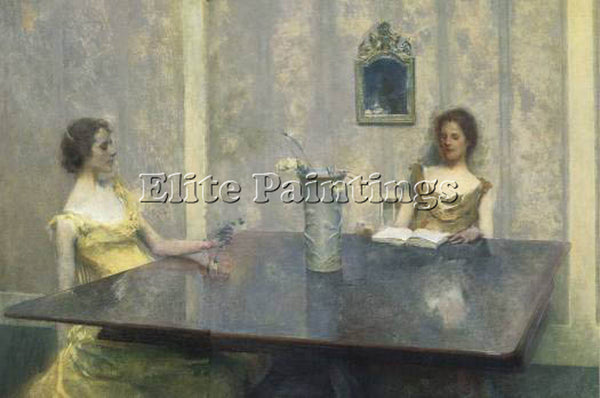 THOMAS WILMER DEWING A READING 1897  ARTIST PAINTING REPRODUCTION HANDMADE OIL