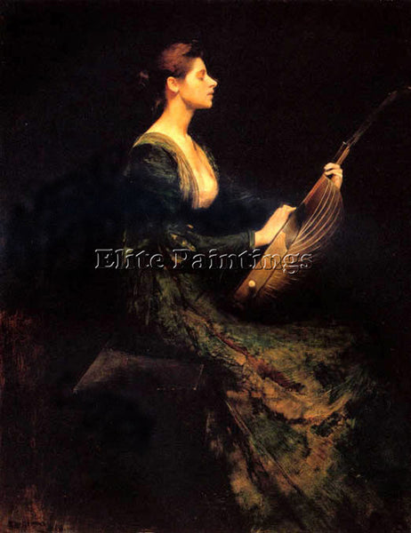 THOMAS WILMER DEWING LADY WITH A LUTE  ARTIST PAINTING REPRODUCTION HANDMADE OIL