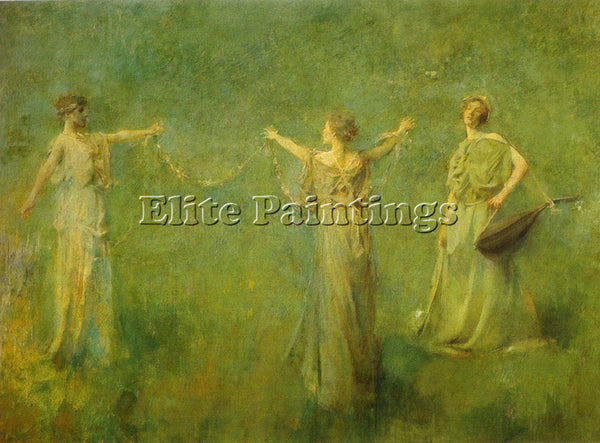 THOMAS WILMER DEWING THE GARLAND 1899  ARTIST PAINTING REPRODUCTION HANDMADE OIL