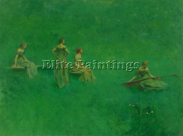 THOMAS WILMER DEWING THE LUTE 1904  ARTIST PAINTING REPRODUCTION HANDMADE OIL
