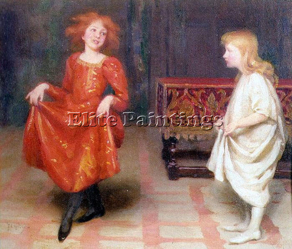 THOMAS COOPER GOTCH THE DANCING LESSON ARTIST PAINTING REPRODUCTION HANDMADE OIL