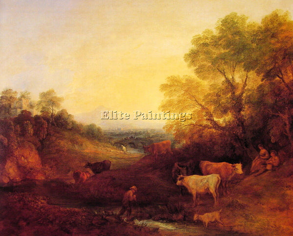 THOMAS GAINSBOROUGH LANDSCAPE WITH CATTLE ARTIST PAINTING REPRODUCTION HANDMADE