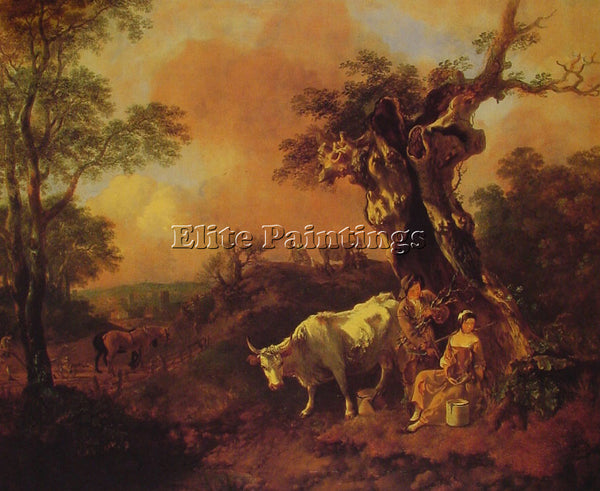 THOMAS GAINSBOROUGH LANDSCAPE WITH A WOODCUTTER AND MILKMAID ARTIST PAINTING OIL