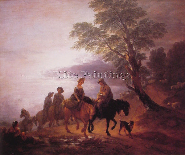 THOMAS GAINSBOROUGH OPEN LANDSCAPE WITH MOUNTED PEASANTS ARTIST PAINTING CANVAS
