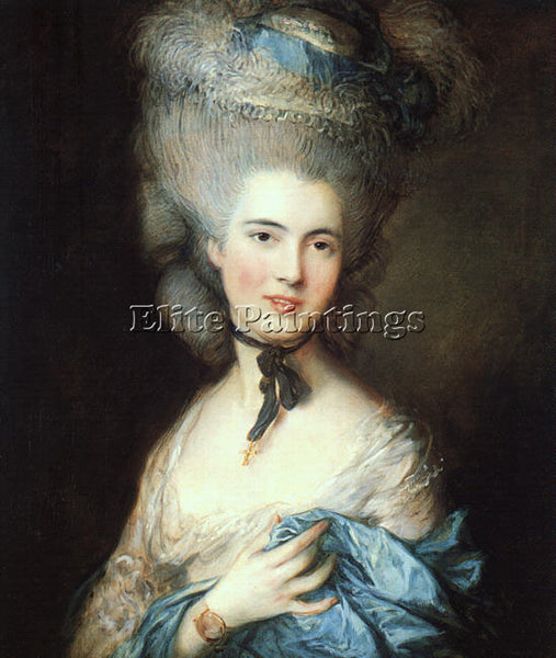 THOMAS GAINSBOROUGH PORTRAIT OF A LADY IN BLUE ARTIST PAINTING REPRODUCTION OIL