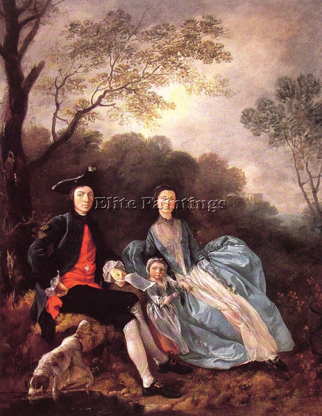 THOMAS GAINSBOROUGH PORTRAIT OF THE ARTIST WITH HIS WIFE AND DAUGHTER ARTIST OIL