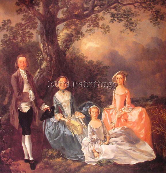 THOMAS GAINSBOROUGH THE GRAVENOR FAMILY ARTIST PAINTING REPRODUCTION HANDMADE
