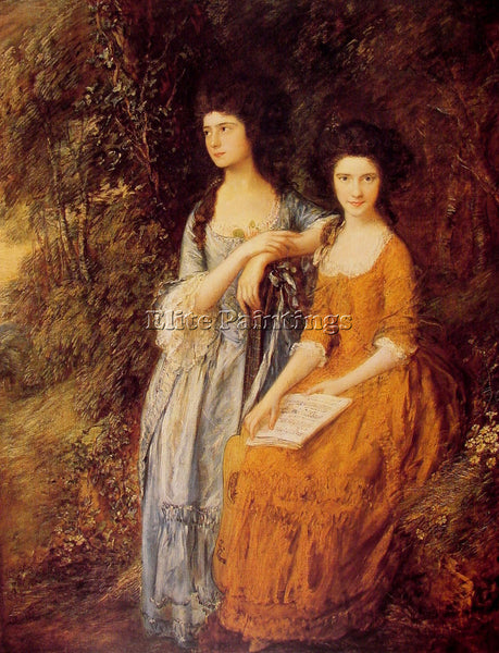 THOMAS GAINSBOROUGH THE LINLEY SISTERS ARTIST PAINTING REPRODUCTION HANDMADE OIL