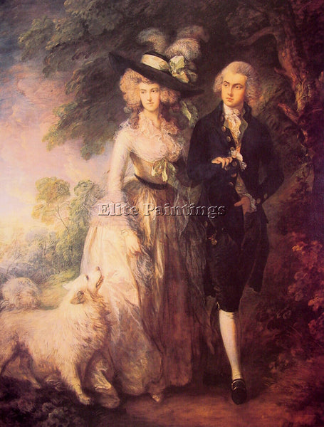 THOMAS GAINSBOROUGH THE MORNING WALK ARTIST PAINTING REPRODUCTION HANDMADE OIL