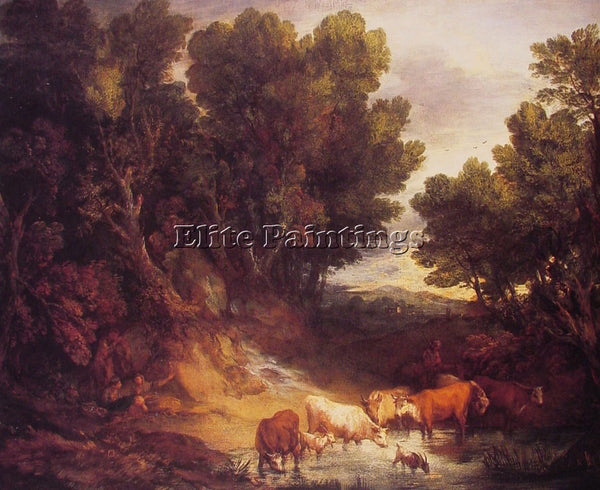 THOMAS GAINSBOROUGH THE WATERING PLACE ARTIST PAINTING REPRODUCTION HANDMADE OIL
