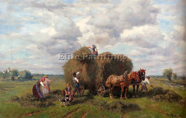 GERMAN THOMASSIN DESIRE THE HAY HARVEST ARTIST PAINTING REPRODUCTION HANDMADE