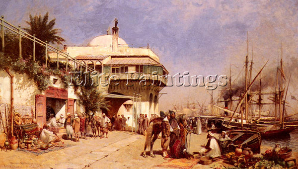 AMERICAN THOMPSON ALFRED WORDSWORTH THE PORT OF ALGIERS ARTIST PAINTING HANDMADE