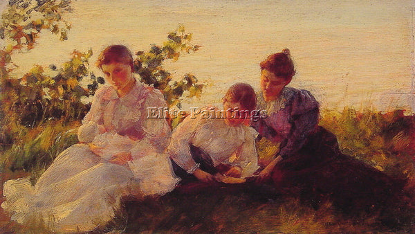 CHARLES COURTNEY CURRAN THREE WOMEN ARTIST PAINTING REPRODUCTION HANDMADE OIL