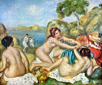 RENOIR THREE BATHING GIRLS WITH CRAB ARTIST PAINTING REPRODUCTION HANDMADE OIL