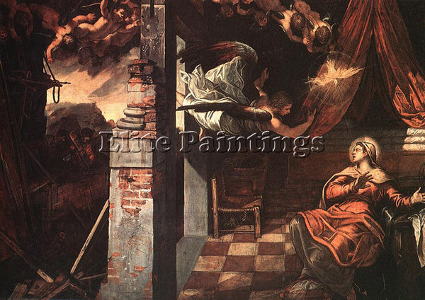 JACOPO ROBUSTI TINTORETTO ANNUNCIATION ARTIST PAINTING REPRODUCTION HANDMADE OIL