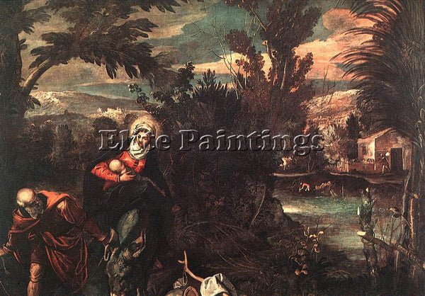 JACOPO ROBUSTI TINTORETTO FLIGHT INTO EGYPT ARTIST PAINTING HANDMADE OIL CANVAS