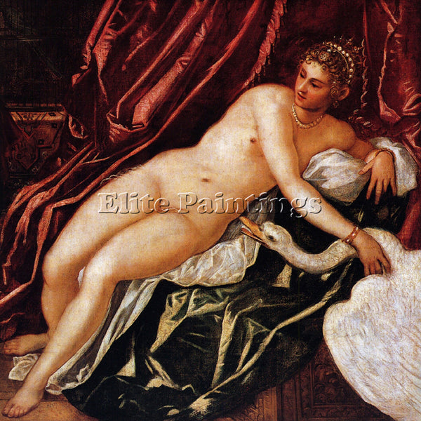 JACOPO ROBUSTI TINTORETTO LEDA AND THE SWAN ARTIST PAINTING HANDMADE OIL CANVAS