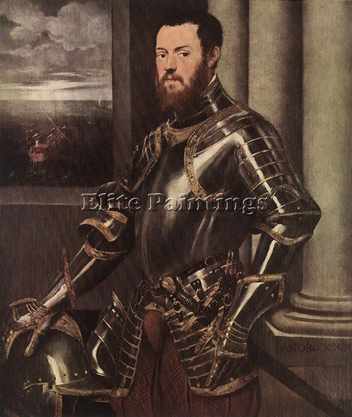 JACOPO ROBUSTI TINTORETTO MAN IN ARMOUR ARTIST PAINTING REPRODUCTION HANDMADE