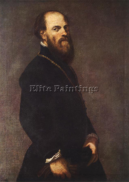 JACOPO ROBUSTI TINTORETTO MAN WITH A GOLDEN LACE ARTIST PAINTING HANDMADE CANVAS