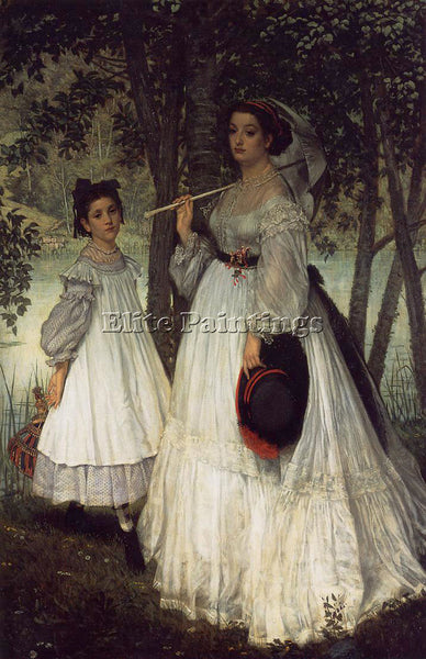 JAMES JACQUES-JOSEPH TISSOT THE TWO SISTERS PORTRAIT ARTIST PAINTING HANDMADE
