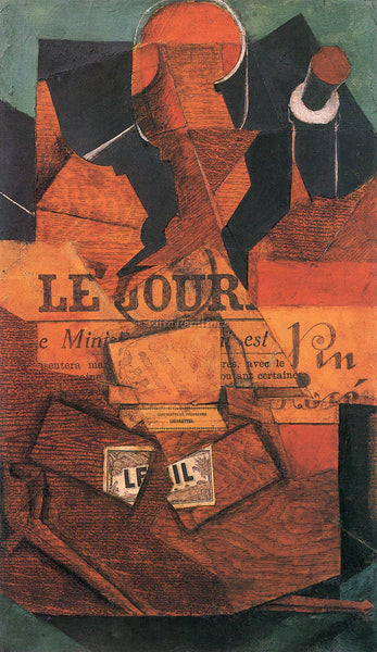 JUAN GRIS TOBACCO NEWSPAPER AND WINE BOTTLE ARTIST PAINTING HANDMADE OIL CANVAS