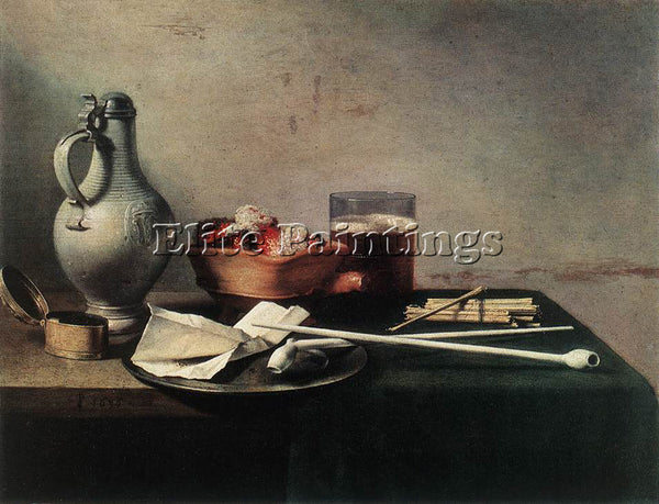 PIETER CLAESZ TOBACCO PIPES AND A BRAZIER ARTIST PAINTING REPRODUCTION HANDMADE