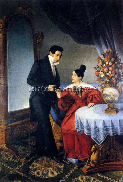ITALIAN TOMINZ GIUSEPPE THE ENGAGED COUPLE ARTIST PAINTING REPRODUCTION HANDMADE