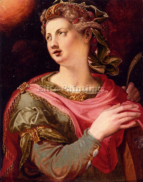 TOSINI MICHELE SAINT CATHERINE OF ALEXANDRIA ARTIST PAINTING HANDMADE OIL CANVAS