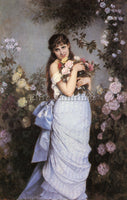 TOULMOUCHE AUGUSTE A YOUNG WOMAN IN A ROSE GARDEN ARTIST PAINTING REPRODUCTION