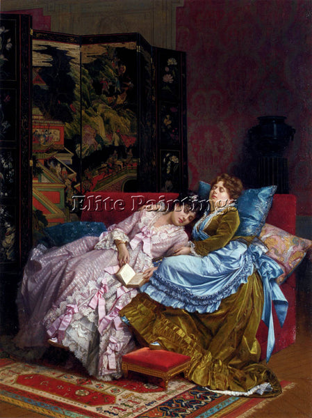 TOULMOUCHE AUGUSTE AN AFTERNOON IDYLL ARTIST PAINTING REPRODUCTION HANDMADE OIL