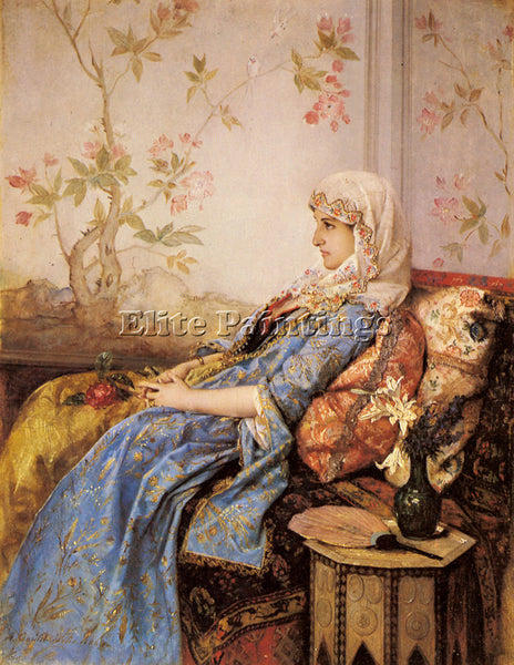 TOULMOUCHE AUGUSTE AN EXOTIC BEAUTY IN AN INTERIOR ARTIST PAINTING REPRODUCTION