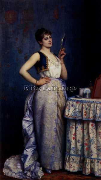 TOULMOUCHE AUGUSTE PREPARING FOR THE BALL ARTIST PAINTING REPRODUCTION HANDMADE